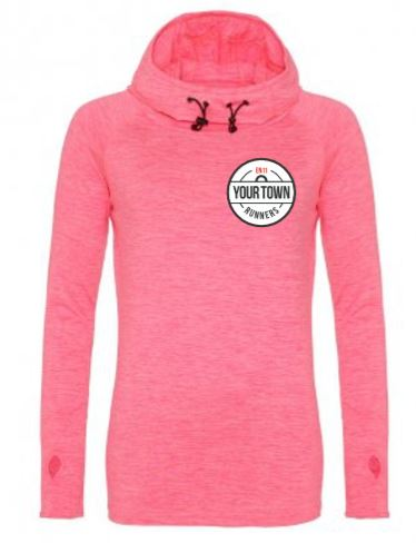 Electric Pink Long-Sleeve Cowl-Neck