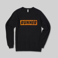 Black Jumper with Orange Runner Logo
