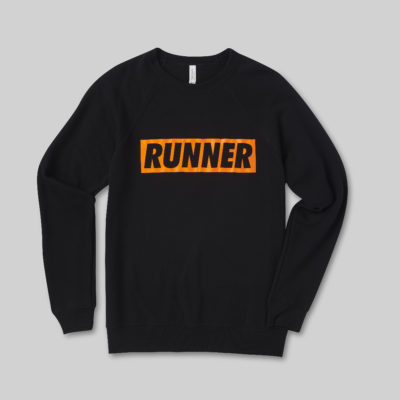 Black Jumper with Orange Runner Logo