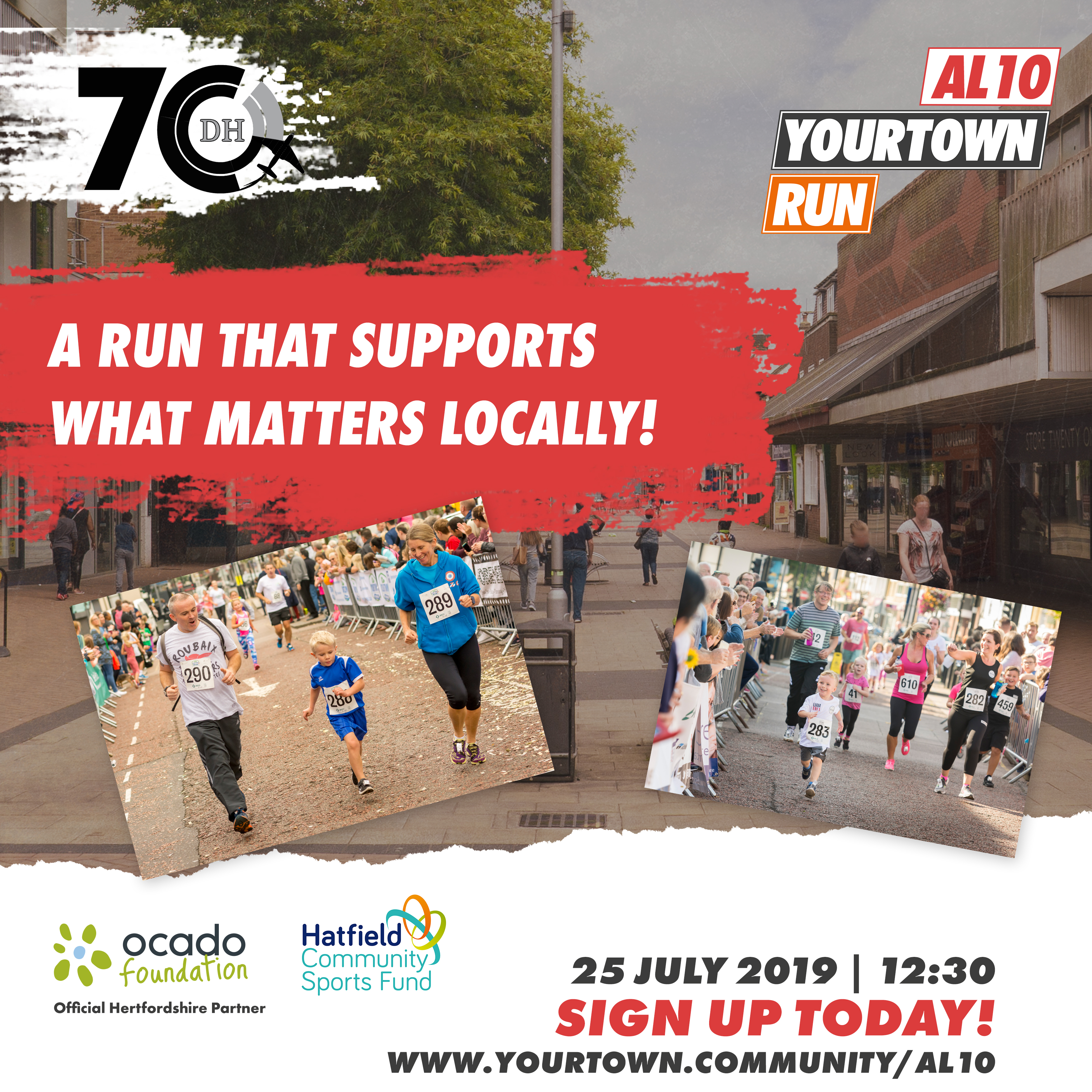 Your Town Hatfield 70th Anniversary Run Poster